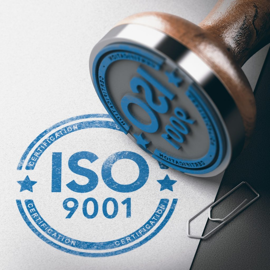ISO 9001 stamp and stamped image to illustrate Quality Standards on Compliance Management page.